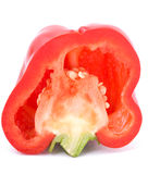 Cut red pepper on a white Stock Images