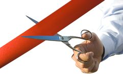 Cut of the red ribbon Stock Image