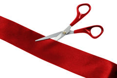 Cut red ribbon Stock Images