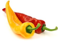 cut red and yellow sweet pepper(capsicum) Royalty Free Stock Images