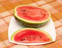 Cut ripe melon on plate Stock Image