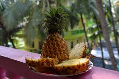 Cut ripe pineapple royalty free stock photos