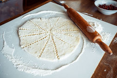 Cut the rolled dough Royalty Free Stock Image