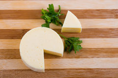Cut round cheese Stock Images