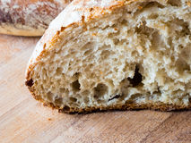 Cut of a round french boule bread Stock Images