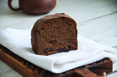 Cut of rye bread with dry fruits filling Royalty Free Stock Image