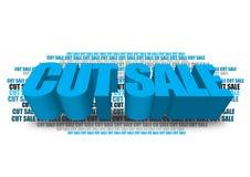 Cut sale graphic. 3D block text graphics cut sale on white Stock Photos