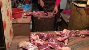 Cut and sale meat in Katmandu market, Nepal stock video footage