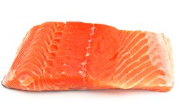 Cut salmon fillet. Surrounded by white background Stock Photography