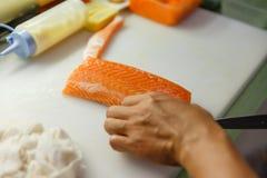 Cut Salmon. Preparing for making Sashimi Stock Photography