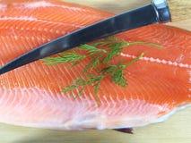 Cut salmon's fragment Stock Photo