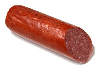 Cut sausage isolated on white Royalty Free Stock Image
