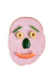 Cut sausage and vegetables in the shape of face Stock Image