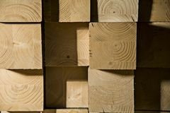 Wood blocks cut with the sawing royalty free stock photos