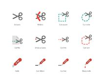 Cut scissors and knife colored icons on white Royalty Free Stock Photography