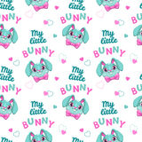 Cut seamless pattern with bunny faces and slogans Royalty Free Stock Images