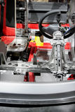 Cut section of Car body. Body in white and steering coloumn of car Stock Photography