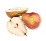 Cut and served red pear Stock Photo