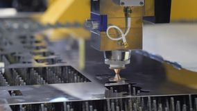 Cut sheet metal. Automation of process. Automatic work for ironwork. 4k stock footage