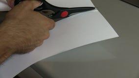 Cut a sheet stock video footage