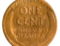 Cut Shot of Old Penny Royalty Free Stock Photos