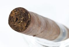 Cut side of expensive hand-rolled cigar Stock Photos