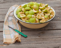 Cut into slices of apples in a bowl Stock Photo