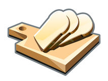 Cut slices of bread on a cutting board Royalty Free Stock Photo