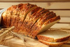 Cut into slices bread Royalty Free Stock Photography