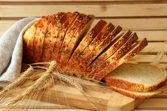 Cut into slices  bread Royalty Free Stock Images