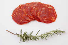 Cut slices of red iberian chorizo Royalty Free Stock Photos