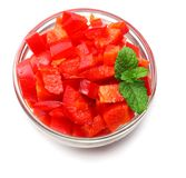 Cut slices of red sweet bell pepper isolated on white background stock images