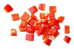 Cut slices of red sweet bell pepper isolated on white background top view stock photography