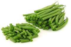 Cut small and slender green beans (haricot vert) Stock Photography