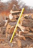 Cut and split fire wood drying in an open pile Royalty Free Stock Images