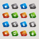 Cut Squares - Drink Icons. 16 drink and alcohol icons set Vector Illustration