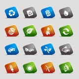 Cut Squares - Ecological Icons. 16 ecological and recycling icons set Royalty Free Stock Photography