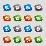 Cut Squares - File format icons. 16 file format icons set Stock Image