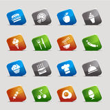 Cut Squares - Food Icons Royalty Free Stock Images