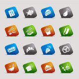 Cut Squares - Food Icons Royalty Free Stock Photo