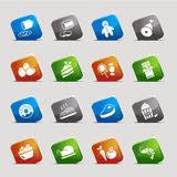 Cut Squares - Food Icons. 16 food and restaurant icons set Royalty Free Stock Images