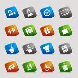 Cut Squares - Hotel icons. 16 hotel and resort icons set Royalty Free Stock Photography