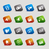 Cut Squares - Media Icons. 16 media and technology icons set Royalty Free Stock Photos