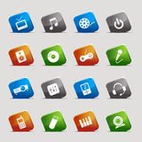 Cut Squares - Media Icons. 16 media and technology icons set Stock Images