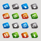 Cut Squares - Media Icons. 16 media and technology icons set Stock Image