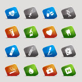 Cut squares - medical icons. 16 medical and healthcare icons set royalty free illustration