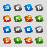 Cut squares - Office and Business icons. 16 office and business icons set Stock Photo
