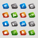 Cut squares - Office and Business icons. 16 office and business icons set Royalty Free Stock Photography