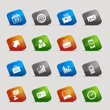 Cut squares - Office and Business icons. 16 office and business icons set vector illustration
