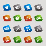 Cut Squares - Social media icons Stock Photo